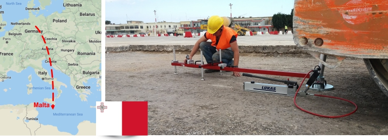HMP PDG Static Plate Load Tester in use in Malta, Valletta ASTM D1195/1196, BS1377-9, DIN 18134