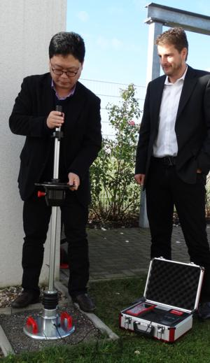 HMP - Korean distributor on a visit to Magdeburg, training for Light Weight Deflectometer